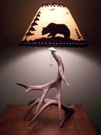 Double Whitetail Antler Lamp