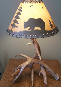Two Whitetail Antler Lamp