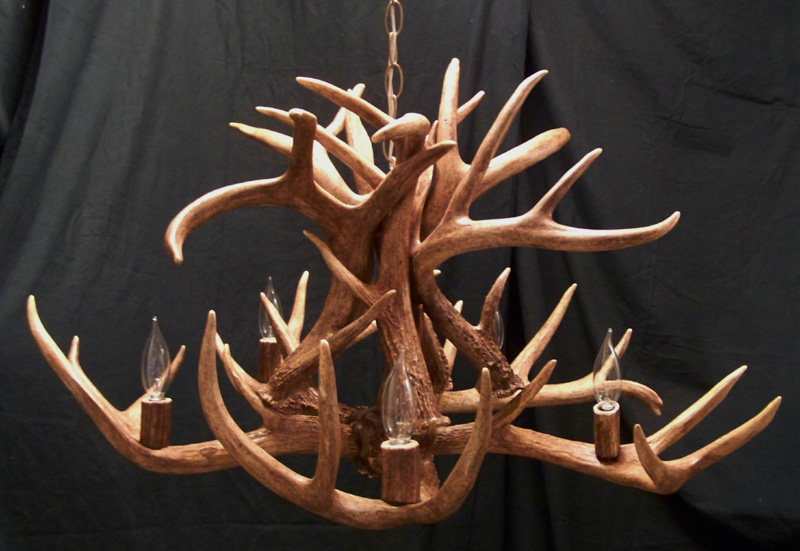 Whitetail chandelier with 5 lights for cabin lodge rustic decor five light whitetail chandelier aloadofball Image collections