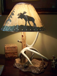 Burl and Cedar Antler Lamp