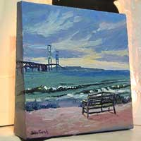 Mackinac Bridge From The South Oil Painting – Free Standing