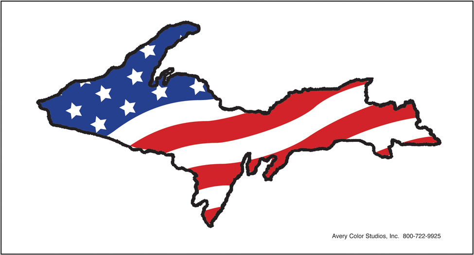Upper Peninsula/American Flag Sticker