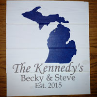 Personalized Michigan Wood Sign