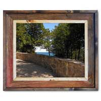 Arch Rock Stone Wall Canvas Print Framed in Barnwood