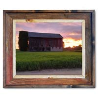 Sunset Barn Canvas Print Framed in Barnwood