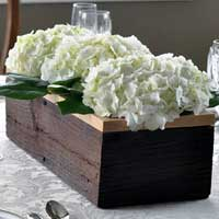 Barnwood Table Trough Center Piece Capped in Oak