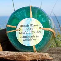 Beach Glass Soap Loofah Round