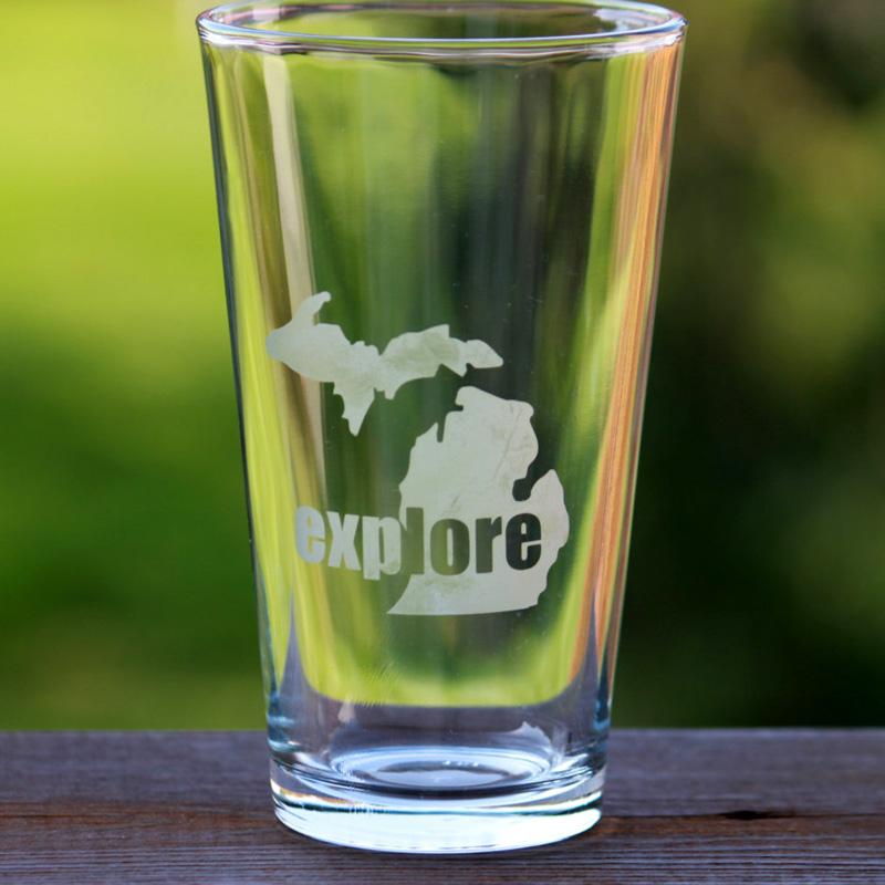 Explore Michigan Pint Glass
