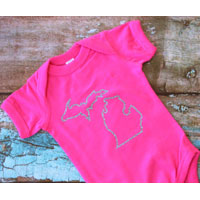 Glitter Michigan Outline Onesie