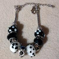 Pandora Style Bracelet  - European Charm Bracelet with Black Glass Beads