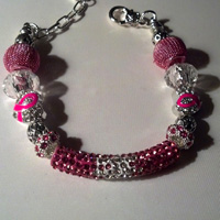 Pandora Style Bracelet  - European Charm Bracelet Breast Cancer Awareness with Pink Glass Beads