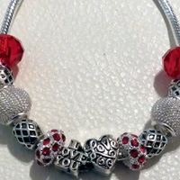 Pandora Style Bracelet  - European Charm Bracelet Red Glass Beads