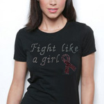 Fight Like a Girl Rhinestone Tshirt