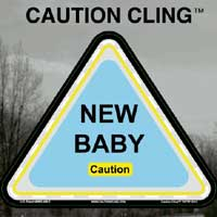 New Baby Blue Caution Cling