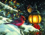 Giclee Art Cardinals Winter Holiday Scene