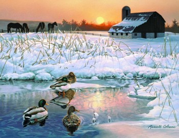 Giclee Art Ducks Winter Morning by award-winning Michigan artist Russell Cobane