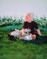 Giclee Art Amish Girl with Bunnies by award-winning Michigan artist Russell Cobane