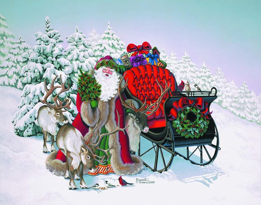Giclee Art Old Fashion Santa Father Christmas with Sleigh by Michigan ...