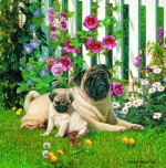Giclee Art Pugs by the Hollyhocks by award-winning Michigan artist Russell Cobane