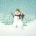 Giclee Art Happy Snowman with Cardinal
