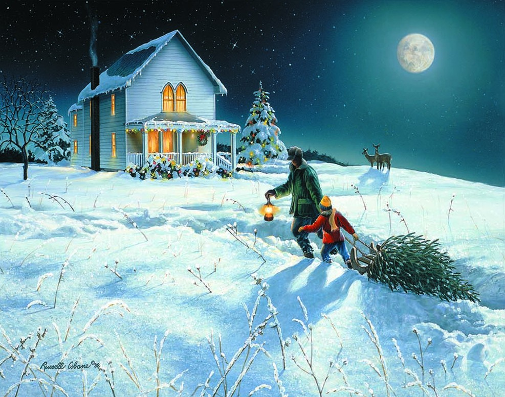 Christmas Scenes Paintings Www Imgkid Com The Image