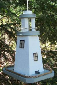 Country Pine Handcrafted Lighthouse birdfeeder gray