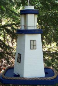Country Pine Handcrafted Lighthouse birdfeeder navy