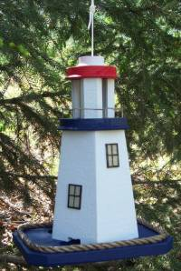 Red White Blue Lighthouse Bird feeder Handcrafted of Barn wood