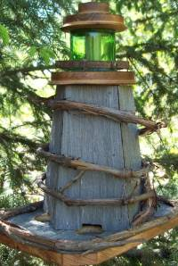 Country Pine Handcrafted Lighthouse birdfeeder rustic