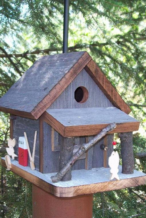 Baitshop birdhouse handcrafted of barn wood country pine products - Cool bird house plans image ...