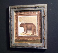 Bear on Map Picture Framed in Barn wood