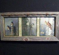 Bluebird, Chickadee, Cardinal Picture Framed in Barn wood