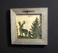 Country Pine Handcrafted Barnwood Framed Buck Picture Trimmed with Barbed Wire