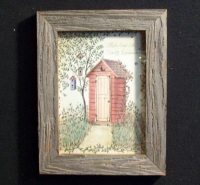 Country Pine Handcrafted Barnwood Framed Red Outhouse Picture Trimmed with Barbed Wire