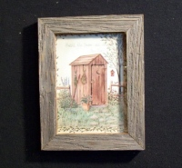 Country Pine Handcrafted Barnwood Framed Rustic Outhouse Picture Trimmed with Barbed Wire
