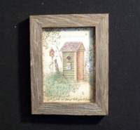 Country Pine Handcrafted Barnwood Framed Green Outhouse Picture Trimmed with Barbed Wire