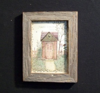 Country Pine Handcrafted Barnwood Framed Green and Red Outhouse Picture