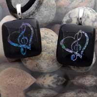 Heart With Music Note Pendants