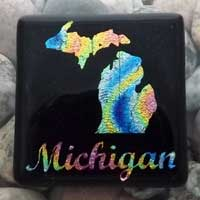 Fused Glass Michigan Magnet
