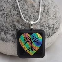 Dichroic Rainbow Heart Necklace