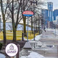 Detroit Riverwalk Postcard