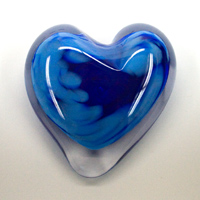 Blown Glass Heart Paperweight - Blue