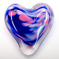 Blown Glass Heart Paperweight - Blue & Pink