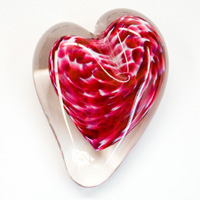 Blown Glass Heart Paperweight - Cranberry