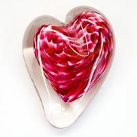 Blown Glass Heart Paperweight - Cranberry