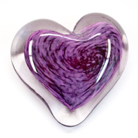 Blown Glass Heart Paperweight - Purple