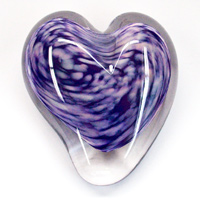Blown Glass Heart Paperweight - Purple & Pink
