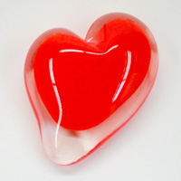 Blown Glass Heart Paperweight - Red