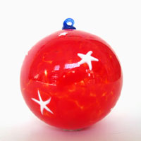 Blown Glass Ornament in Red with White Stars
