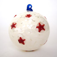 Blown Glass Ornament in White with Red Stars